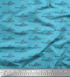 Soimoi Fabric Barcelona City Monuments Architectural  Fabric Print BTY-AT-528A