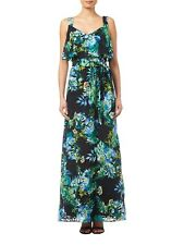 New Adrianna Papell Black Multi Tropical Burn Out Printed Maxi Dress Sz UK 16