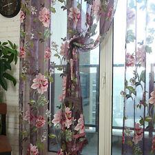 Romantic Floral Tulle Voile Door Window Curtain Drape Panel Sheer Scarf Valances