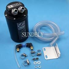 Billet Aluminum Car Racing Engine Oil Catch Tank Can Reservoir Black Round +Hose