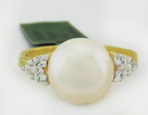 GENUINE 9 mm WHITE PEARL & SAPPHIRES RING 925 Silver  *New with Tag ** Size 6.25