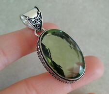 """NATURAL OVAL GREEN AMETHYST 925 STERLING SILVER PENDANT 2"""" NECKLACE CHARM FILIGR"""