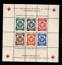 1945 Poland MNH Souvenir sheet Dachau Red Cross Concentration Camp Stamps perf