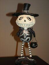 Black & White Whimsical Skeleton Figurine With Black Cat Halloween Decor - Cute!