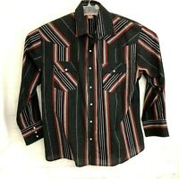 Mens Western Striped Long Sleeve Shirt Pryde XL Multi-color Stripes Snap Buttons