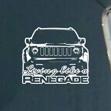 1x Living Like a Jeep Renegade Logo Graphic Vinyl Decal Sticker Vehicle SUV Rear
