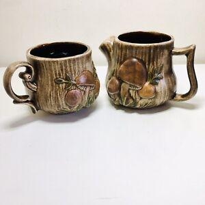 Vintage Arners Studio Pottery Mug & Milk Jug Mushroom Relief Design Signed Rhian