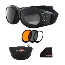 NEW Bobster Eyewear Cruiser II Black Frame Interchangeable Goggles w/ 3 Lens Set