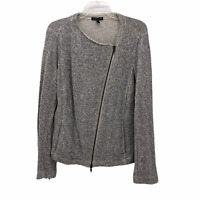 Eileen Fisher Womens Large Gray White Knit Asymmetric Zip Front Long Sleeve Swea