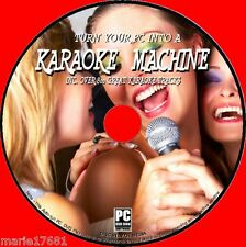 KARAOKE ON YOUR PC SOFTWARE OVER 800 SONGS / TRACKS WITH LYRICS DISPLAY NEW DVD