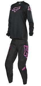 Fox Racing Womens Black/Pink 180 Prix Dirt Bike Jersey and Pants Combo Kit MX
