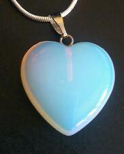 Opalite Healing Crystal heart pendant & 925 Sterling chain.UK SELLER.FAST POST