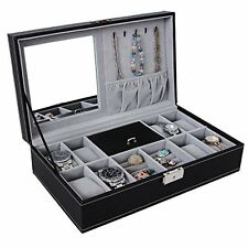 Black Leather Jewelry Box Watch Organizer Large Case Gift Ring Display Locks