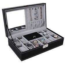 Black Leather Jewelry Box Watch Organizer Large Case Gift Ring Display Locks