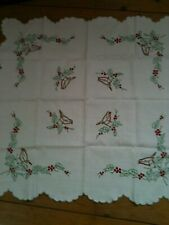 More details for vintage hand embroidered linen tablecloth christmas, robin, holly, berries, vgc