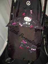 black pink hello kitty bow waterproof stay put buggy/pram blanket harness pads