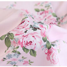 Pink Large Floral Cotton Fabric - Sheeting Bedding Vintage Style Shabby Chic
