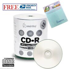 100 Smartbuy 52X CD-R 700MB Silver Inkjet Printable Disc +FREE Micro Fiber Cloth
