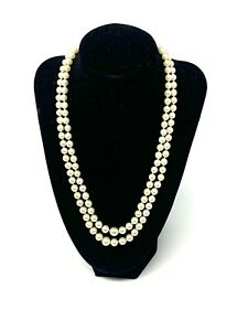 Sublime Antique Art Deco Sterling Silver 925 Cultured Pearl Bead Necklace #849