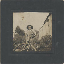 ADORABLE VINTAGE PHOTO OF YOUNG FARM BOY ON VINTAGE TRACTOR IN FIELD