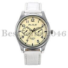 Fashion Mens Analog Quartz Luminous Pointer Leather Strap Sports Wrist Watch
