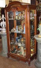 Rare French Carved Walnut Beveled Glass China Cabinet Vitrine Louis XV C1880