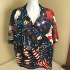 Chicyea Mens Shirt 4Xl XXXXL USA Flag Eagle Patriotic July 4 Memorial Day FS!