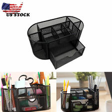 Desk Organizer Black Mesh Metal Desktop Office Pen Pencil Holder Storage Tray US