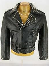 Mens Painted Stud Studded Fur Lined Leather Motorcycle Biker Punk  Jacket S 38