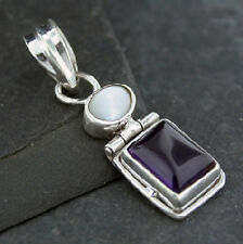 Mother of Pearl & Amethyst Sterling Silver Rectangular Hinged Pendant .925