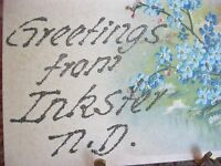 ANTIQUE POST CARD LOT SET OF 2 GREETINGS FROM INKSTER N.D. NORTH DAKOTA TO EDNA