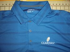 Mens Xlarge Steel Blue Striped Nike Golf Guardian Polo Shirt - Nwt
