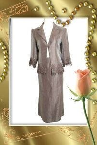 Skirt Suit Size 12 Mother Of Bride Lilac taupe shimmer midi Gina Bacconi VGC
