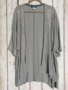 Small/Medium/Large New Sage Green White Floral Embroidered Kimono Cardigan Top