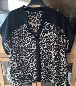 Ladies Vintage Rockabilly Leopard Print Cap Sleeve Simple Be Blouse Size 18 VGC