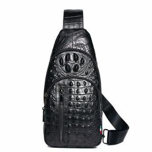 Sling Backpack Men's Genuine Leather Crocodile Crossbody/Shoulderfor Bag Hiking