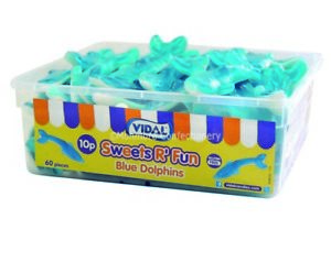 Vidal Blue Dolphins 60 Pieces Full Jelly Sweets Tub