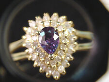 NATURAL COLOR CHANGE GARNET  .53 CT  PEAR and .25 TCW  DIAMONDS  14K  GOLD RING