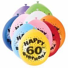 60th Happy Birthday Latex Balloons 10pk