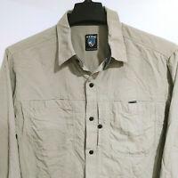 KUHL Men's L Large Vented Nylon Hiking Fishing Long Sleeve Button Down Shirt