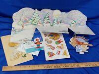 LOT Xmas Ephemera Advent Calendar Cards Cut Out Decoration Cards VTG 70s-80s
