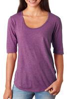 Anvil Women's Comfort Tri Blend Deep Scoop Neck Short Sleeve Basic Tee. 6756L