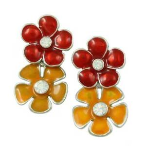 Red and Orange Enamel and Crystal Double Daisies Pierced Earring - REE407RO