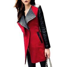Winter Womens Long Warm PU Leather Sleeve Jacket Coat Parka Trench Windbreaker