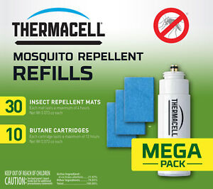 Thermacell R10 Mosquito Repellent Refills Mega Pack 30 mats 10 butane cartridges