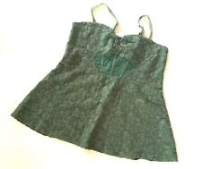 New FREE PEOPLE Green corset style A line top with smocked back L