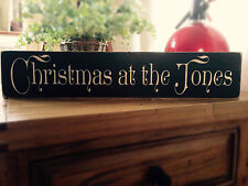 Personalised Family ' Christmas at the ' Plaque Sign old vintage look wood
