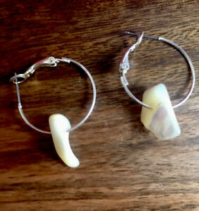 """Trendy Shell Mother of Pearl Nuggets Dangly on Silver Tone Hoop Earrings 1.5"""""""