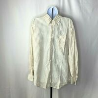 J Press Mens Shirt Size Large Yellow and White Checkered Long Sleeve Button Up