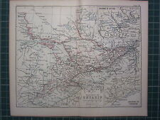1887 ANTIQUE MAP ~ PROVINCE OF ONTARIO OTTAWA ENVIRONS TORONTO